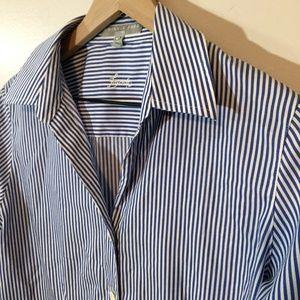 Foxcroft Blue-White Striped Button-Up Shirt, 10